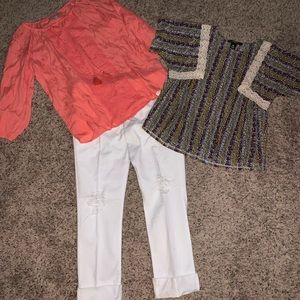 Bundle sz Med. 2 shirts and distressed crop